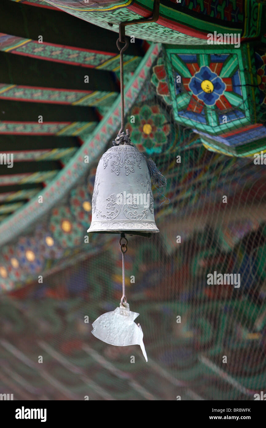 The fish-shaped chime on the Buddhist wind bell, honors those creatures which never close their eyes, Seoul, South Stock Photo