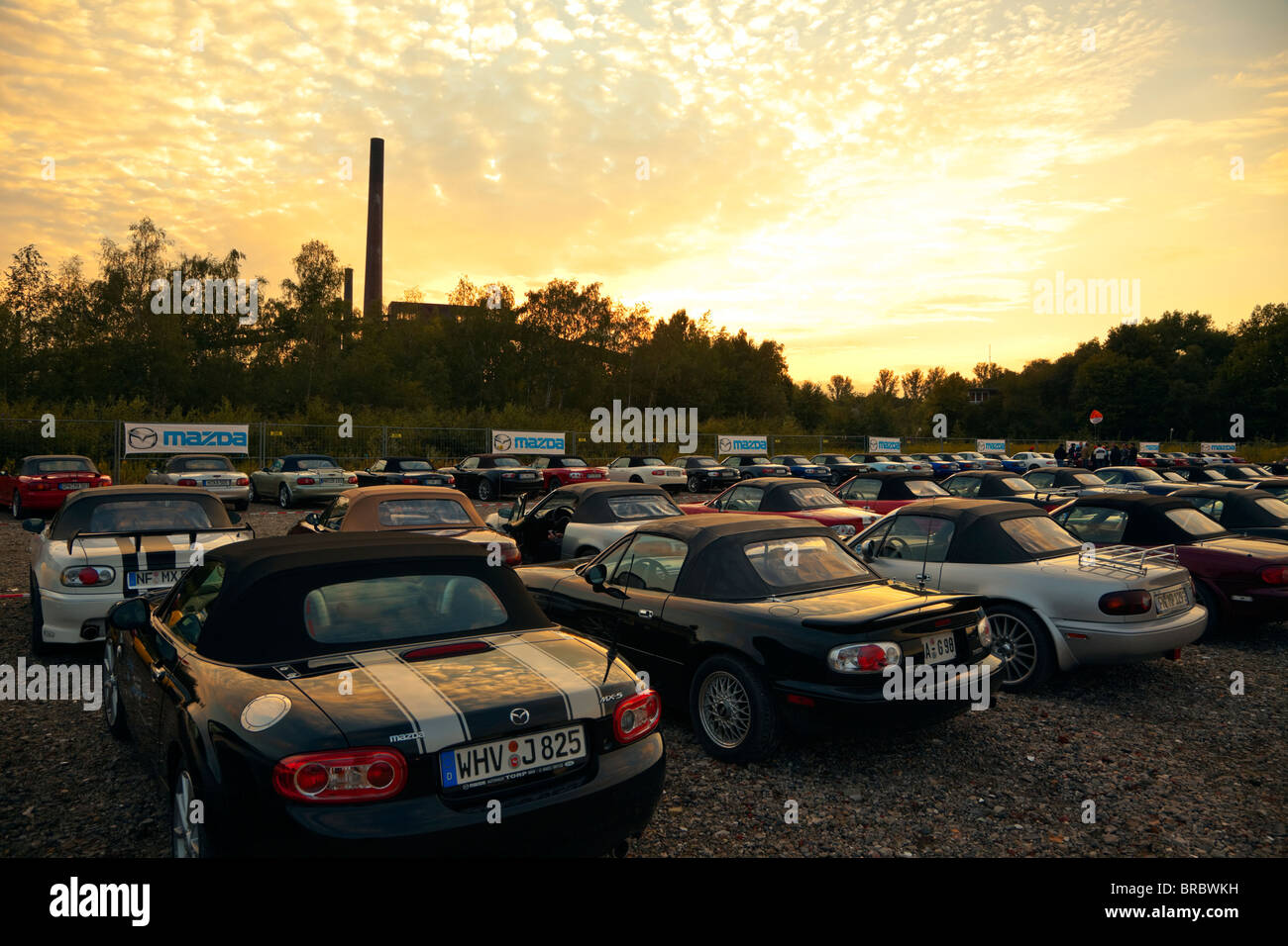 Mazda MX-5 cars parked at the 20th anniversary World Record corso event at Zeche Zollverein, Essen, Germany, September - Stock Image