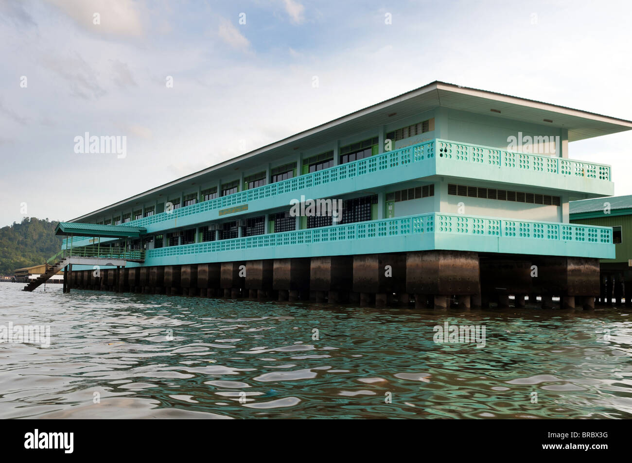 School in Water Village in Bandar Seri Begawan, Brunei - Stock Image