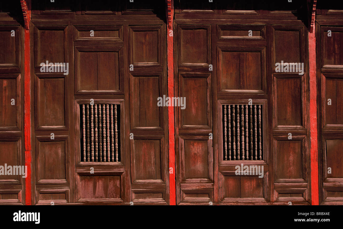 Wood panels, Wat Pantao, a classic example of Lanna (Northern Thai) architecture, Chiang Mai, Thailand - Stock Image