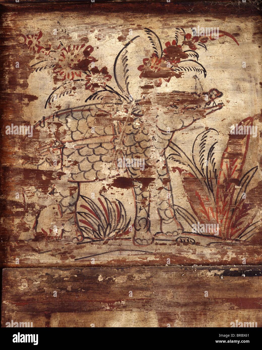 A rhino, detail of a mural from late Ayutthaya period in Wat Yai Suwannaram, Petchaburi, Thailand - Stock Image
