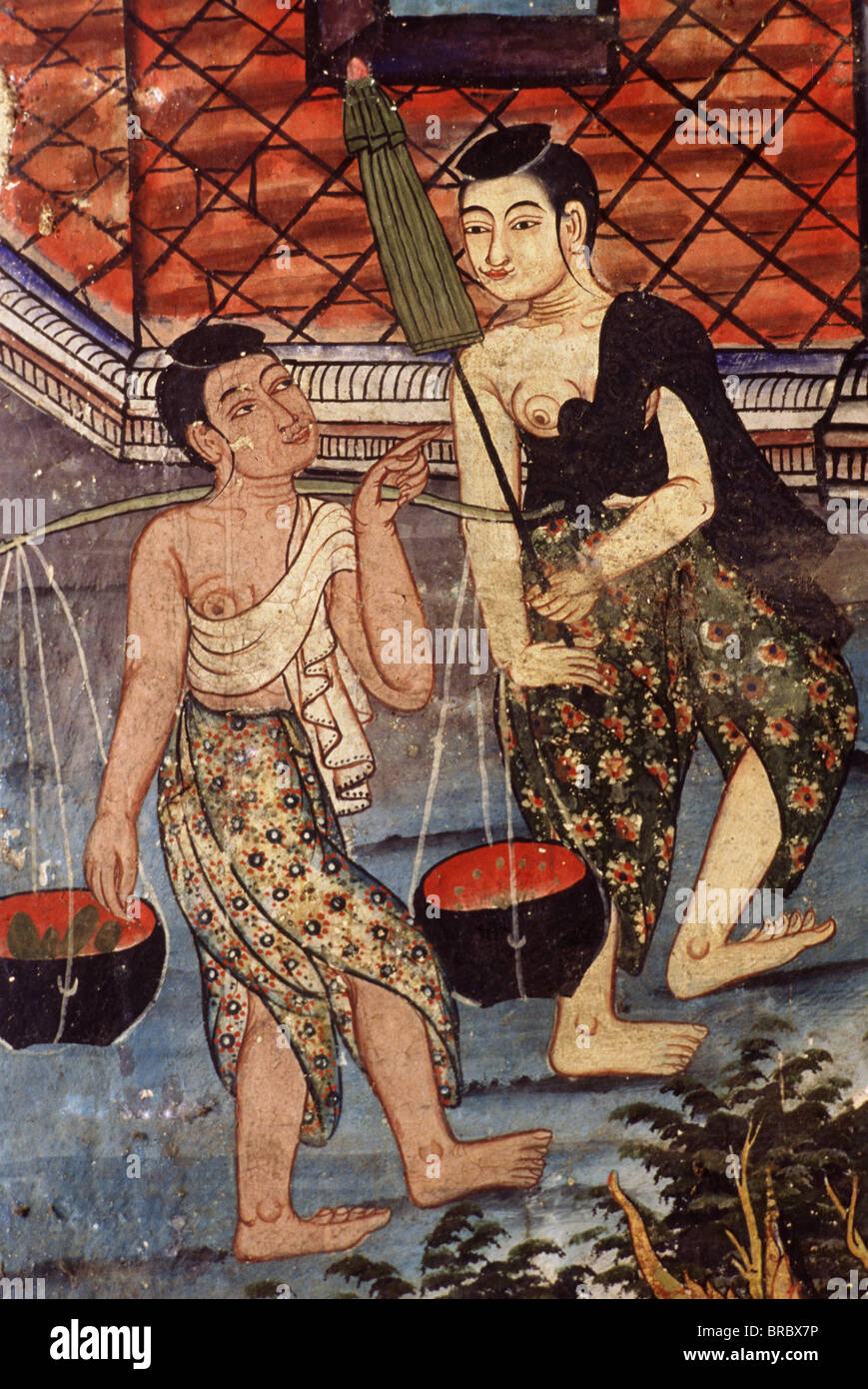 Detail of the murals of the Sang Thong Tales, Viharn Laikam at Wat Phra Singh, Chiang Mai, Thailand - Stock Image