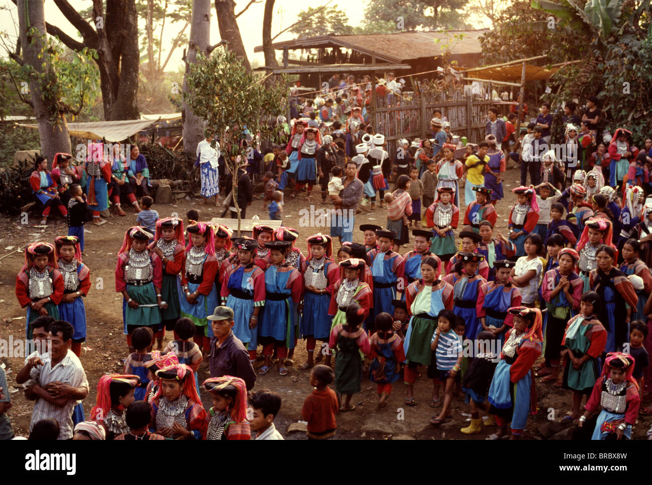 Gathering of Lisu tribes people, Northern Thailand - Stock Image
