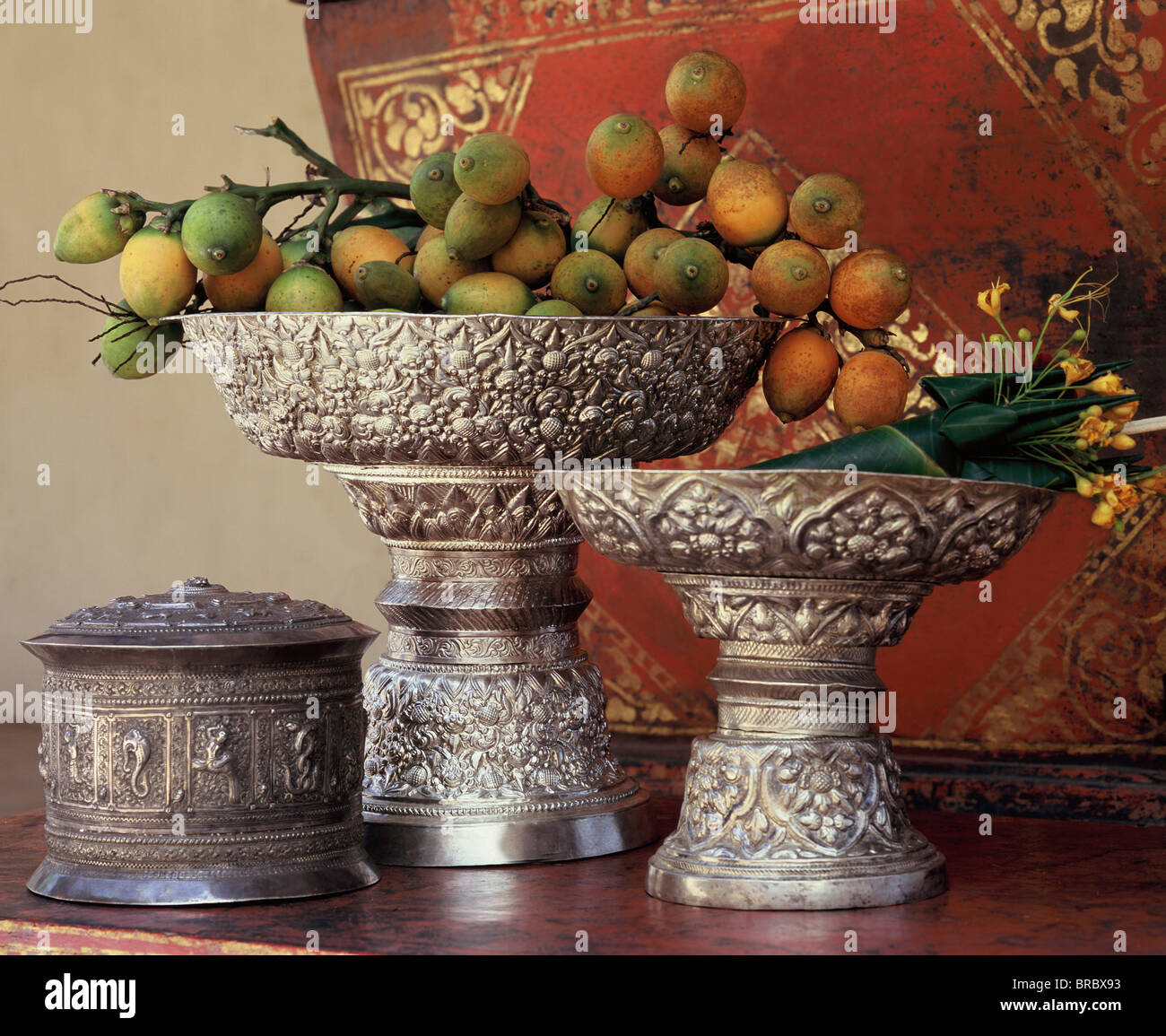 Silver trays holding betel nuts, Northern Thai craftmanship, Chiang Mai, Thailand - Stock Image