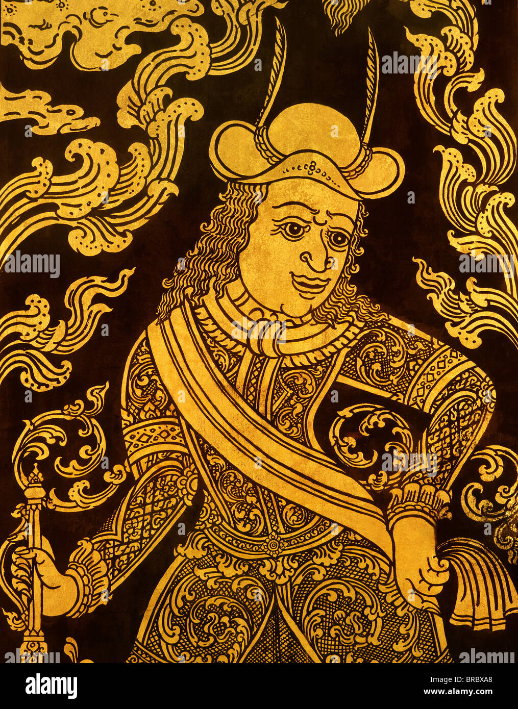 Detail of a lacquered book cabinet dating from Ayutthaya,  Bangkok, Thailand - Stock Image