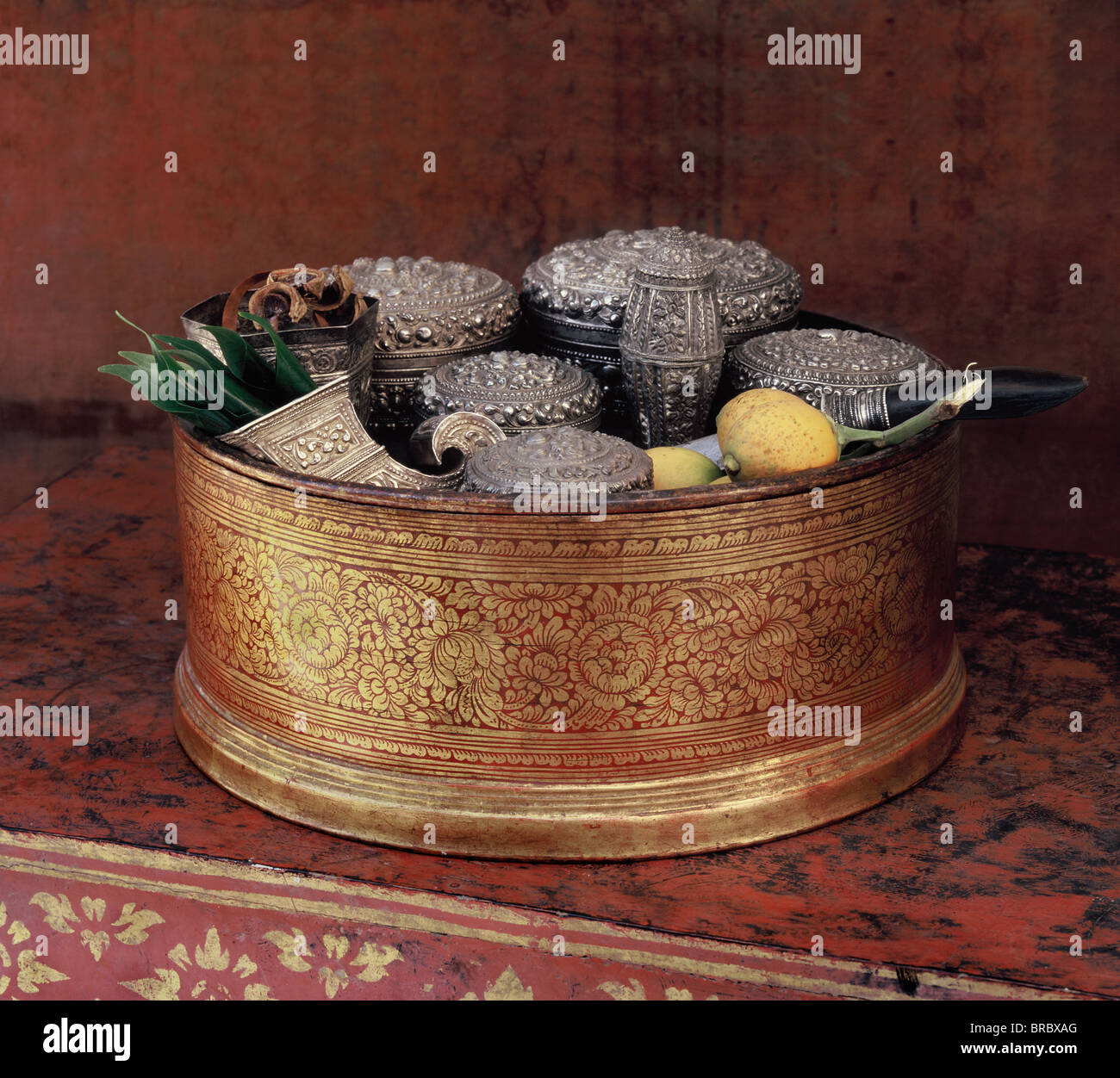 Lanna style lacquerware betel box with a silver set, Northern Thailand, Thailand - Stock Image