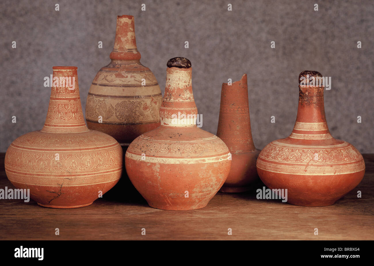 Water containers from kilns at Lamphun dating from the 14th to 16th centuries, Thailand - Stock Image