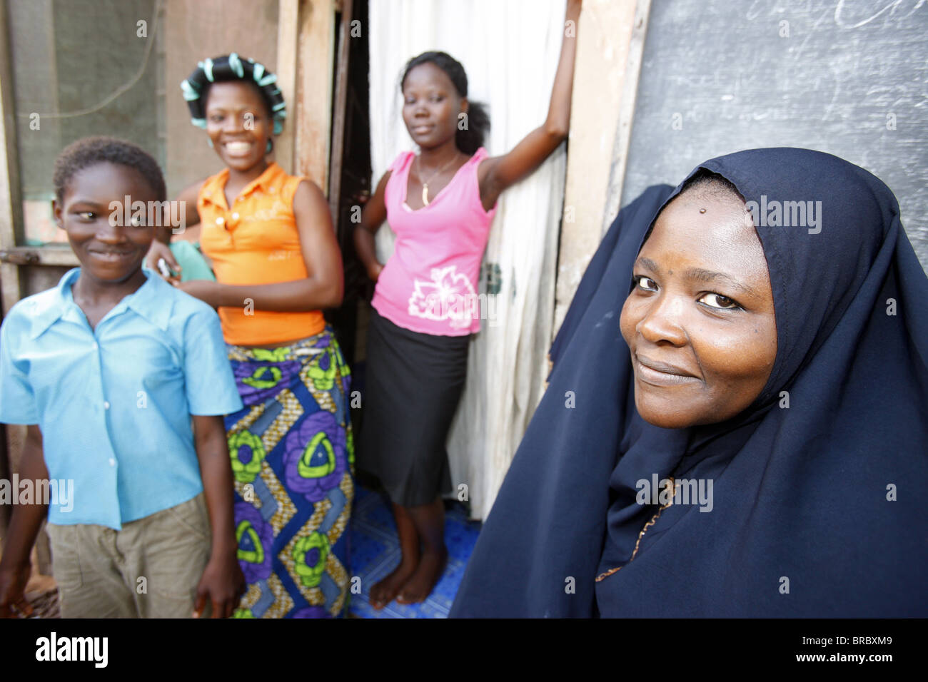 Muslim family, Lome, Togo, West Africa - Stock Image