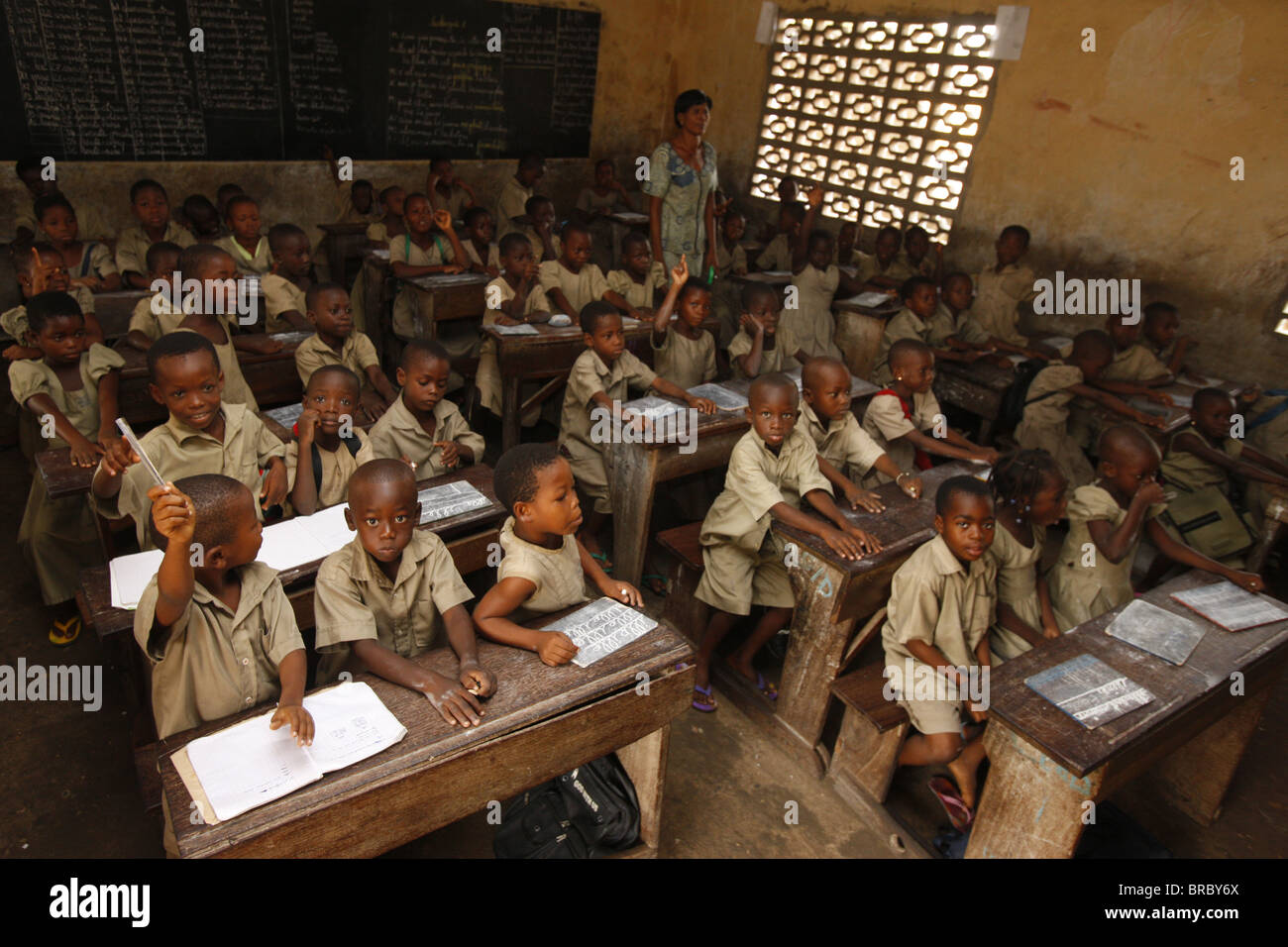 Primary school, Lome, Togo, West Africa - Stock Image