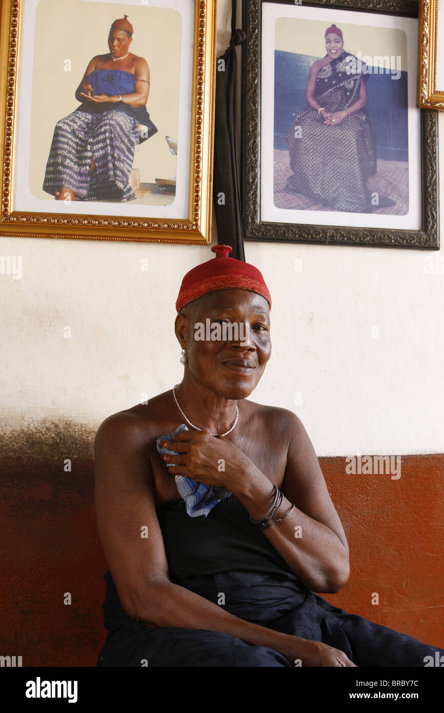 Voodoo priestess in Togoville, Togo, West Africa - Stock Image