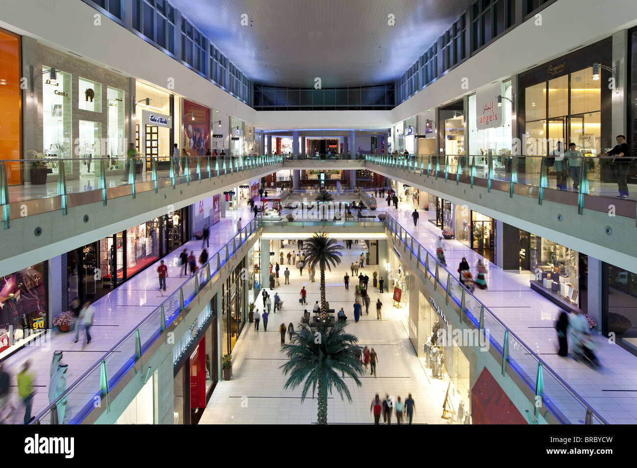 Dubai Mall, the largest shopping mall in the world with 1200 shops, part of the Burj Khalifa complex, Dubai, UAE - Stock Image