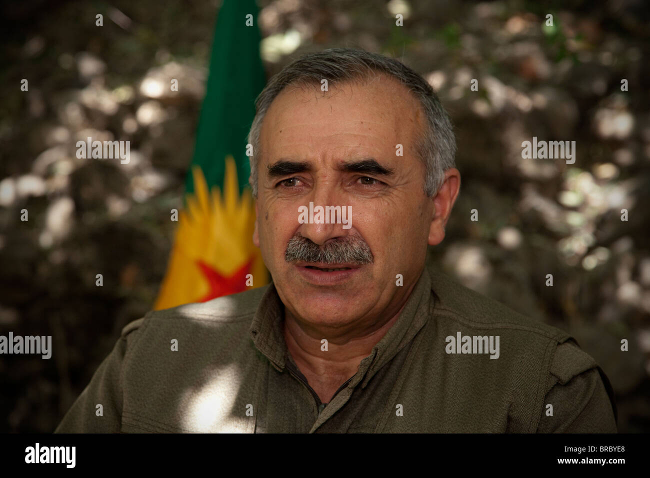 Murat Karayilan The Kurdish guerrilla commander and current militant leader of the PKK in a mountainous hideout - Stock Image