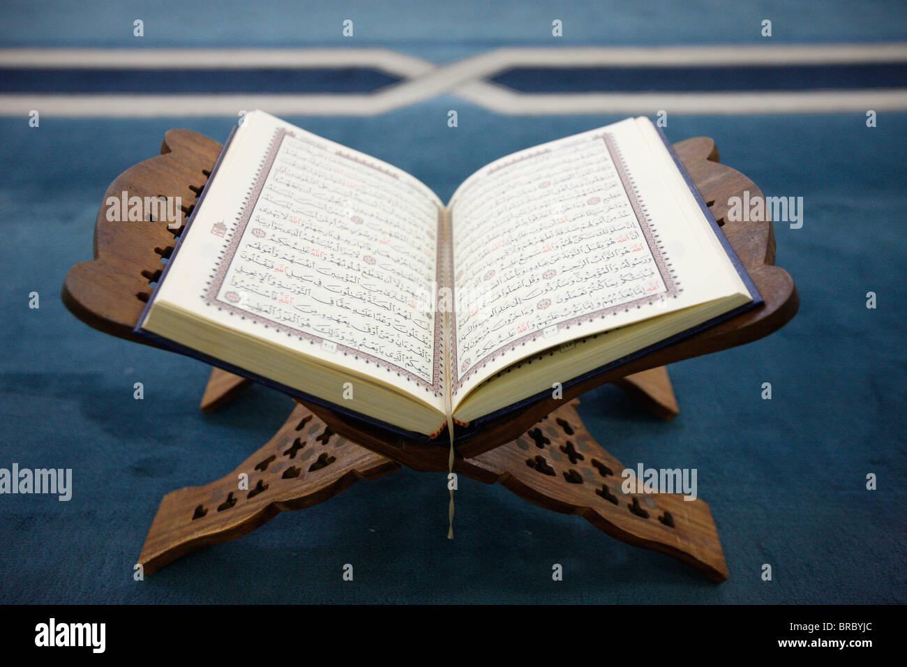 Koran on stand, Dubai, UAE - Stock Image