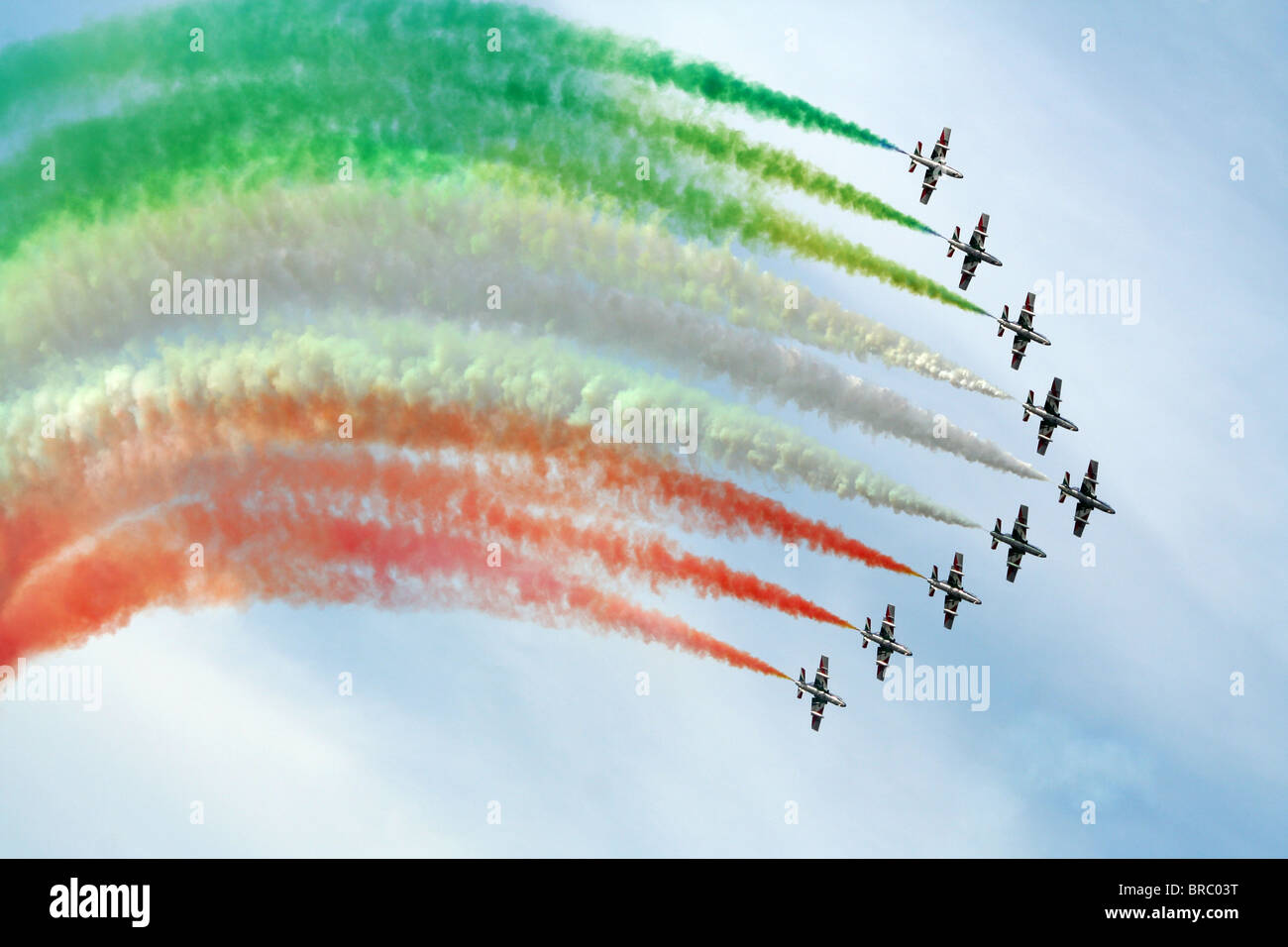 Frecce Tricolori perforling at an airshow Stock Photo
