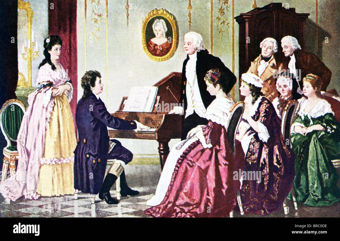 Beethoven plays for Mozart (standing next to pianoforte [early piano]) and several men and women in a salon in Vienna, - Stock Image