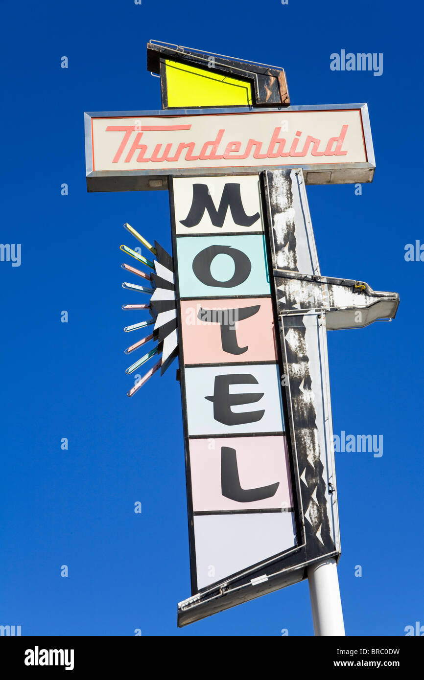 Neon sign on the Thunderbird Motel on Virginia Street, Reno, Nevada, USA - Stock Image