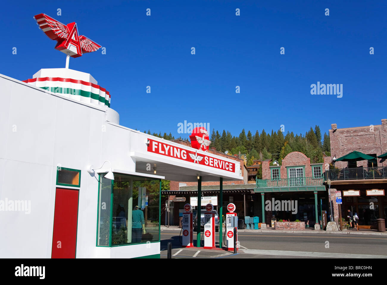 Historic Flying A Gas Station in Truckee, California, USA - Stock Image