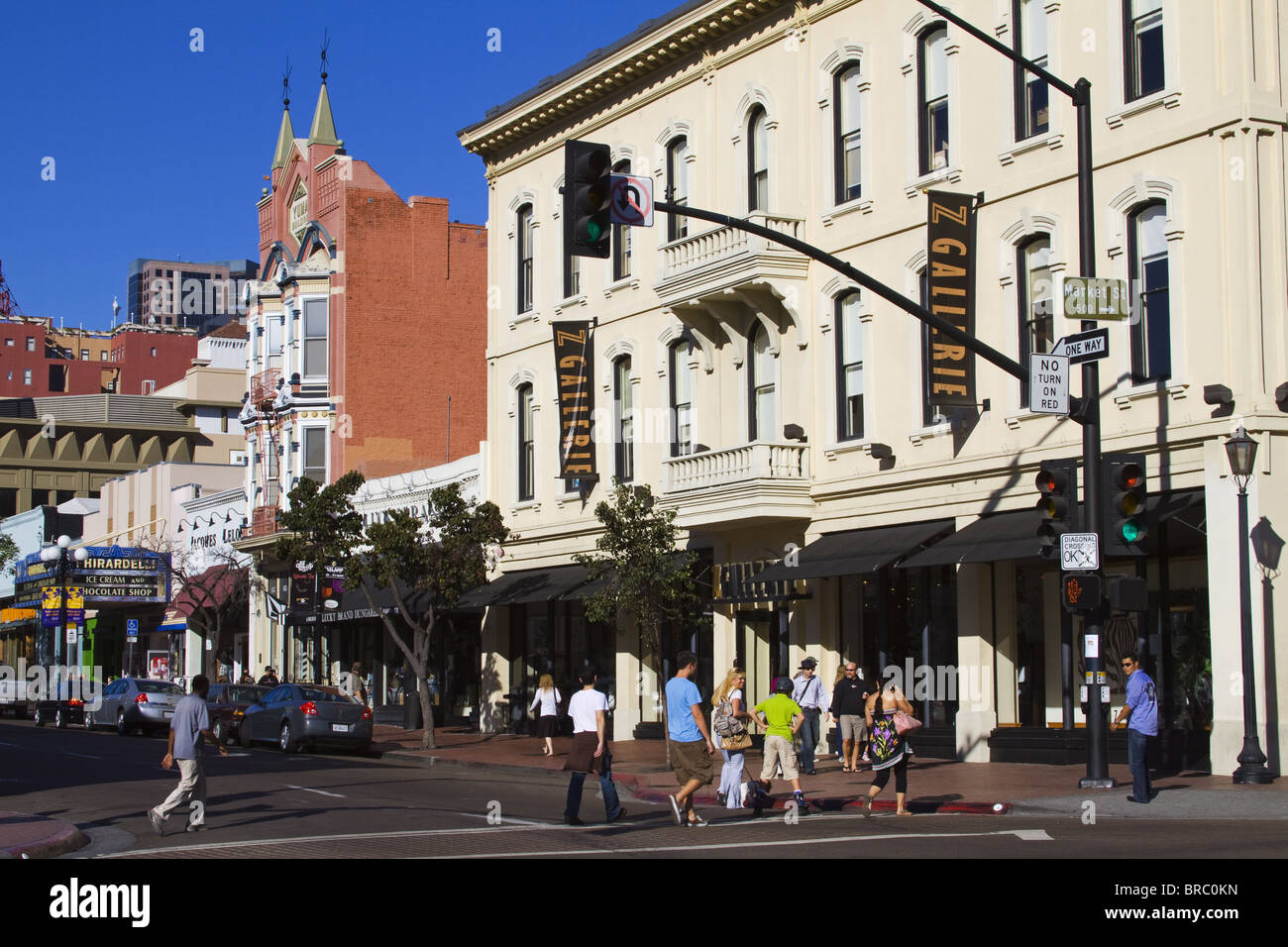 Stores on Fifth Avenue in the Gaslamp Quarter, San Diego, California, USA - Stock Image