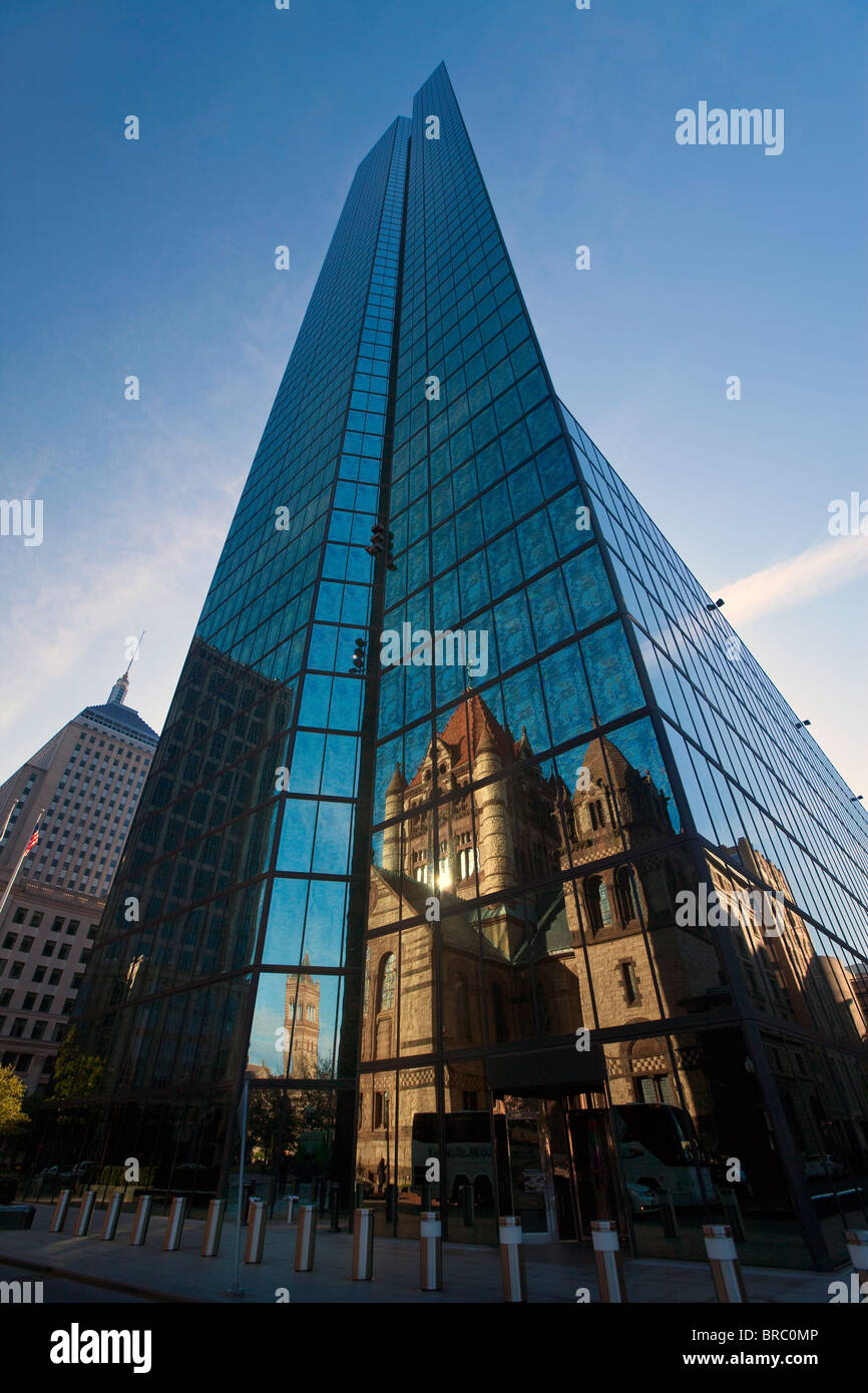 Trinity Church reflected in modern skyscraper, Boston, Massachusetts, New England, USA Stock Photo
