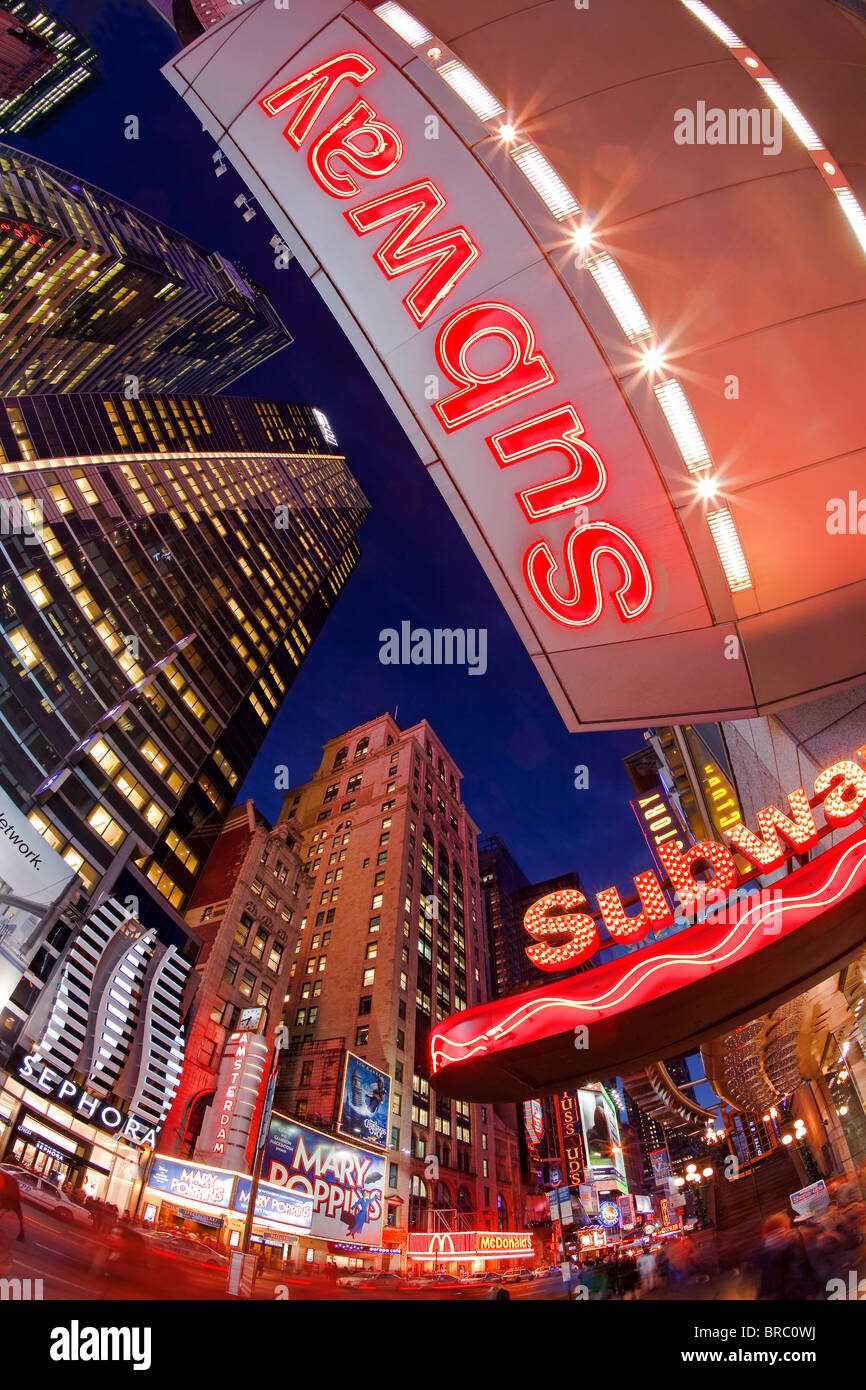 Neon lights of 42nd Street, Times Square, Manhattan, New York City, New York, USA - Stock Image
