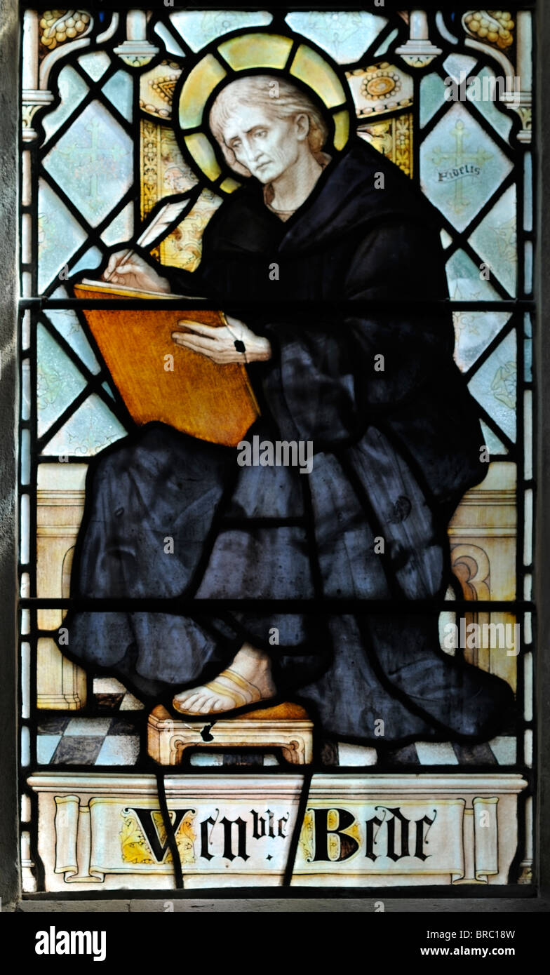 Stained glass window in memory of the Venerable Bede Stock Photo