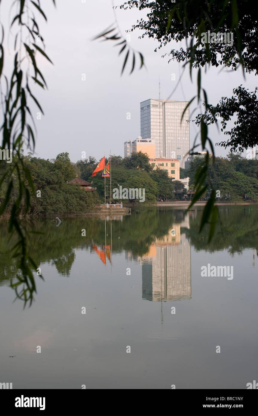 View on Hoan Kiem Lake, Hanoi, Vietnam, Indochina - Stock Image