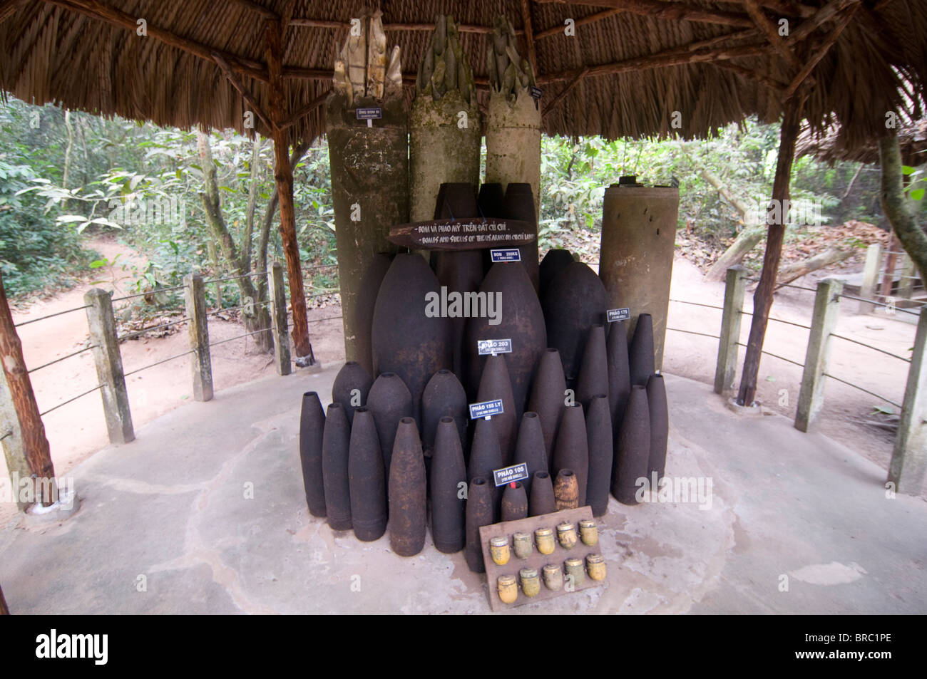 Collected bombs from the Vietnam war at exhibition, ChuChi, Vietnam, Indochina - Stock Image