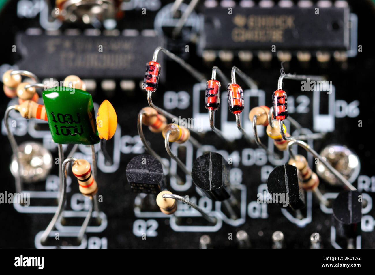 Closeup of an electronic board with components. - Stock Image