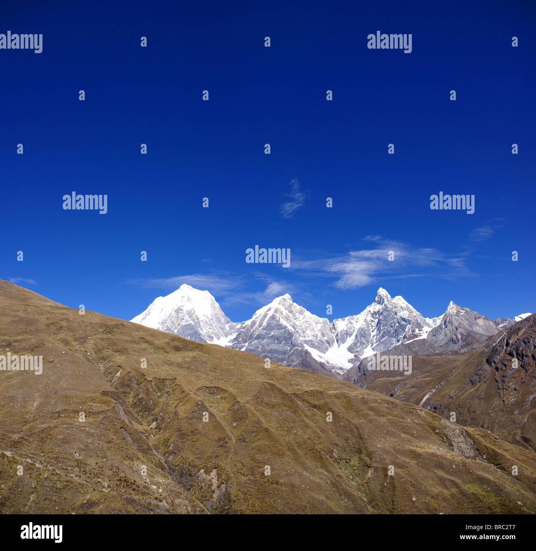 Panorama: Cordillera Huayhuash, Yerupaja and Jirishanca, Peru, South America - Stock Image