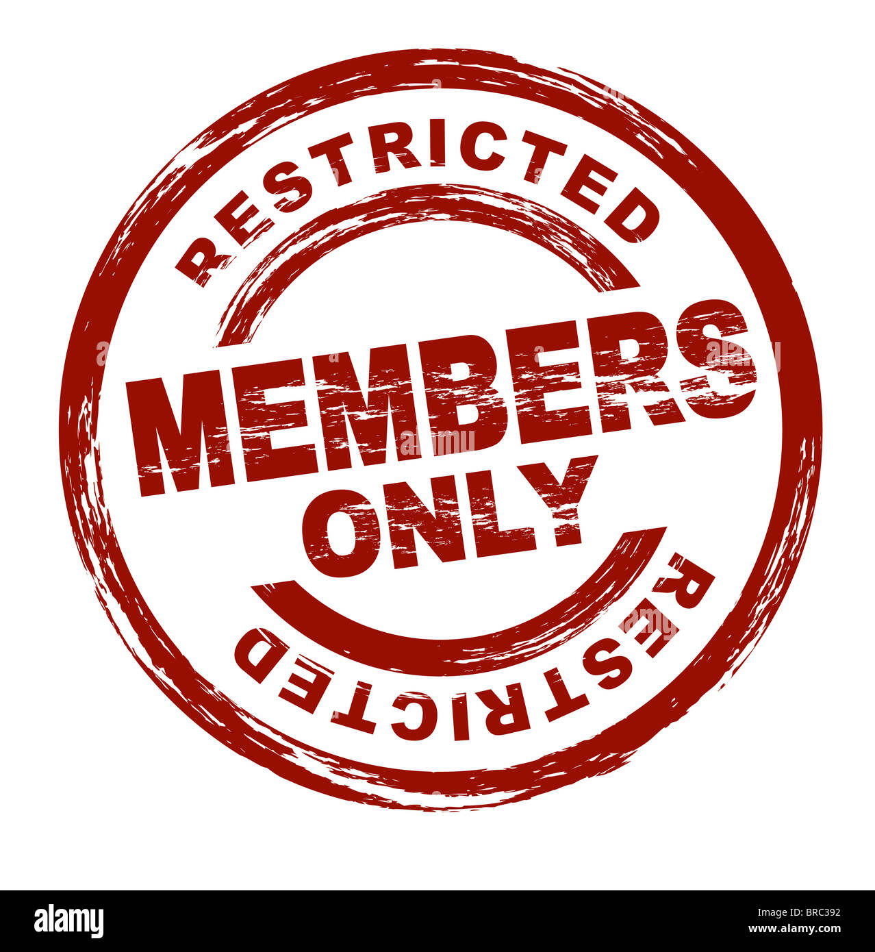 A stylized red stamp symbolizing a restricted member area. All on white background. - Stock Image