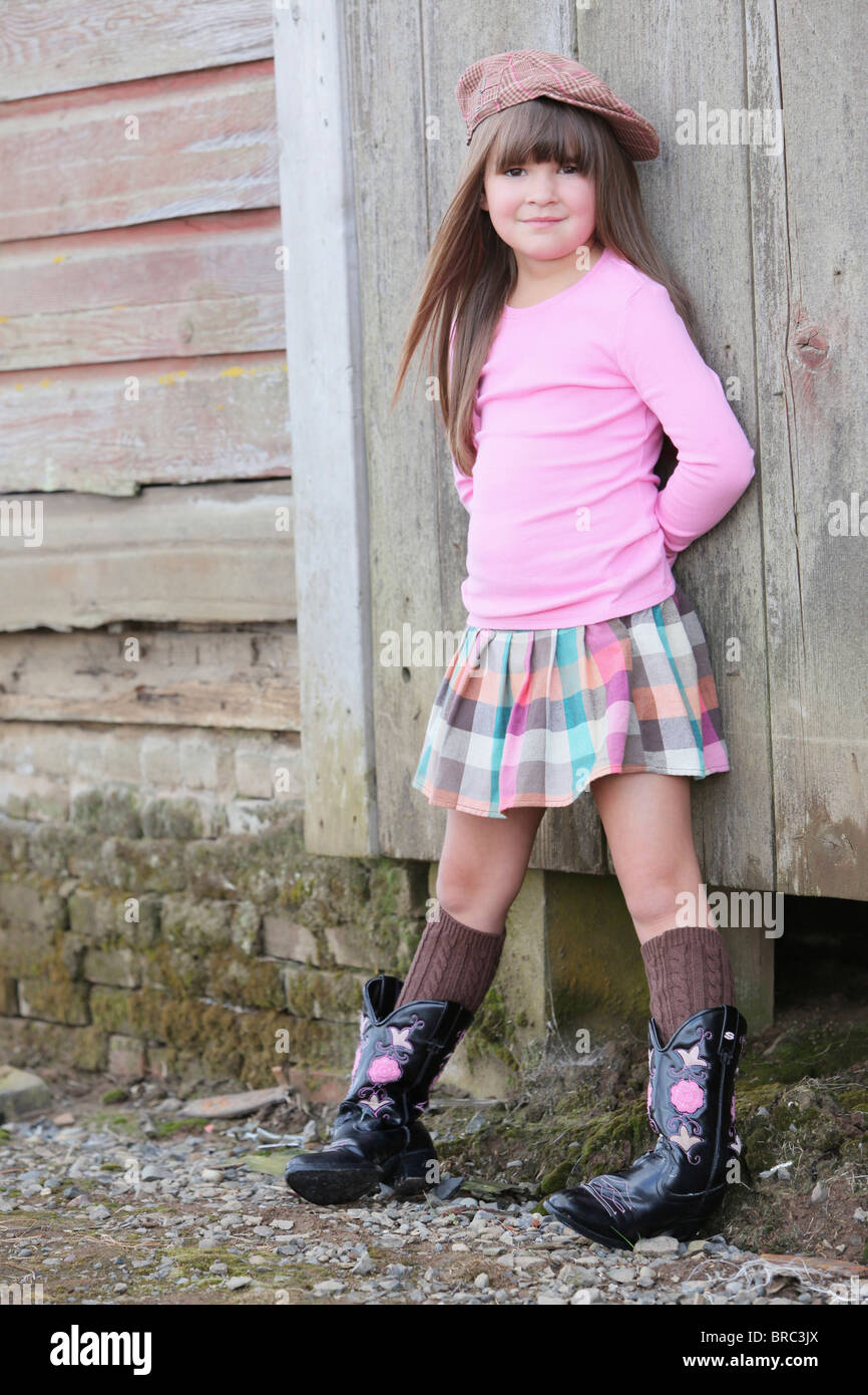 Young Girl Wearing A Hat And Cowboy Boots Troutdale Oregon United