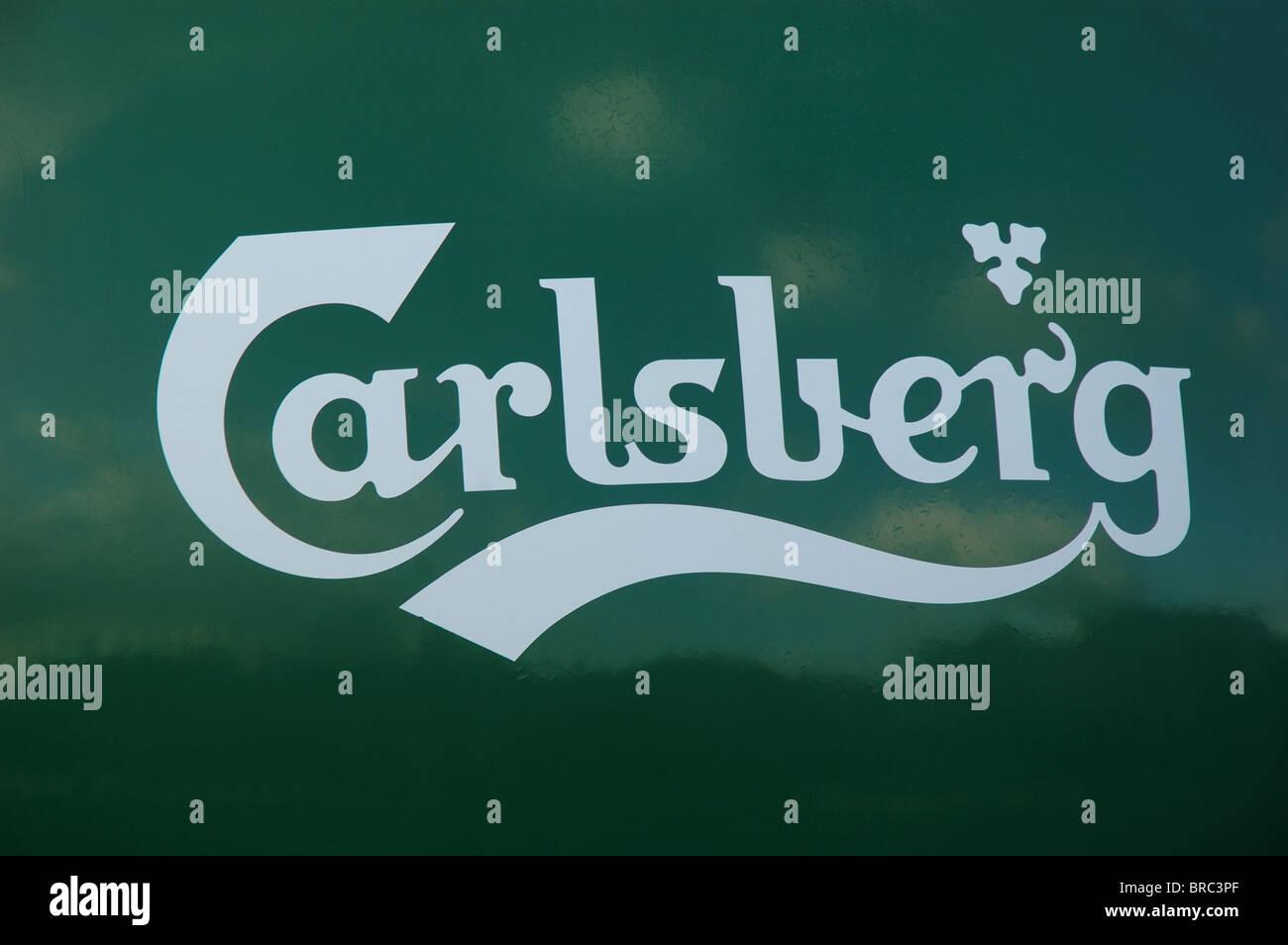 Carlsberg logo on the back of a tanker, Northampton, England, UK - Stock Image