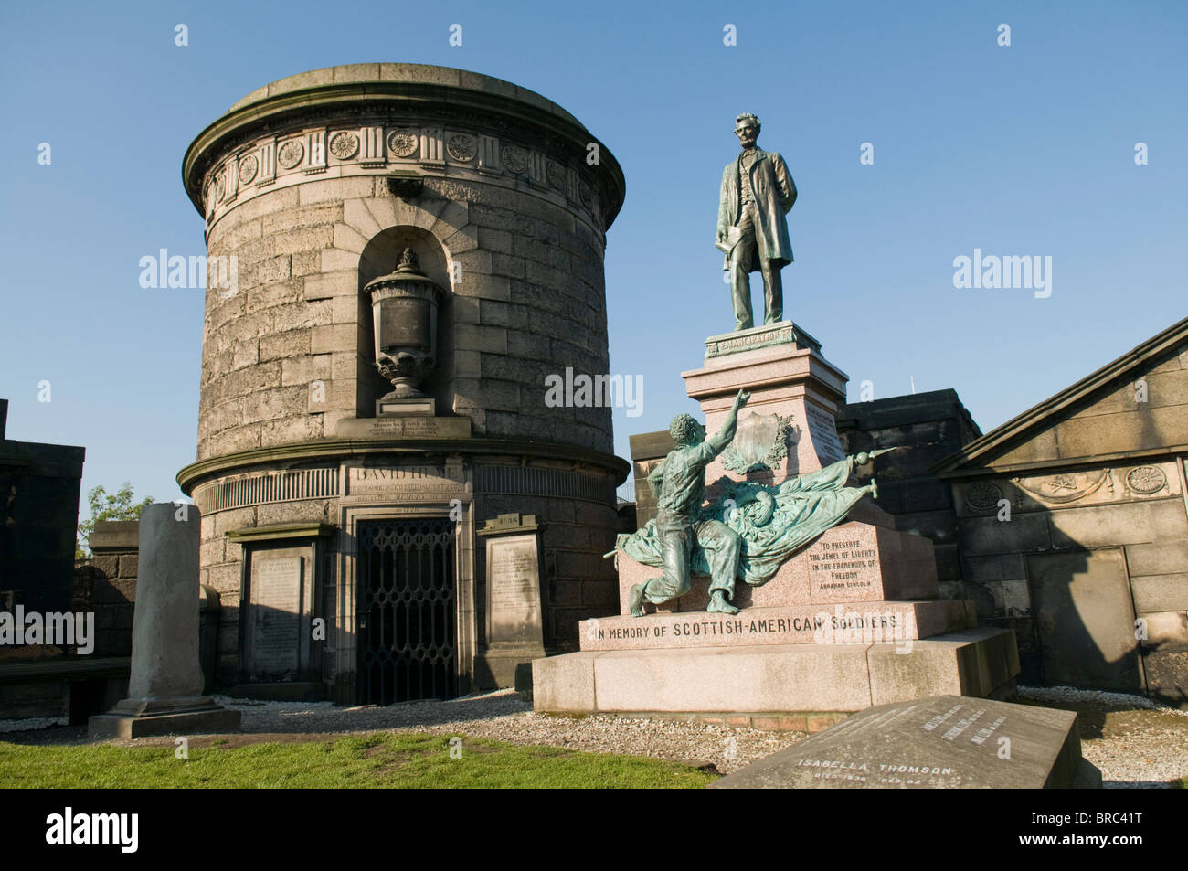 Statue of Abraham Lincoln atop memorial to Scottish - American soldiers, in the Calton Cemetery, Edinburgh. Stock Photo
