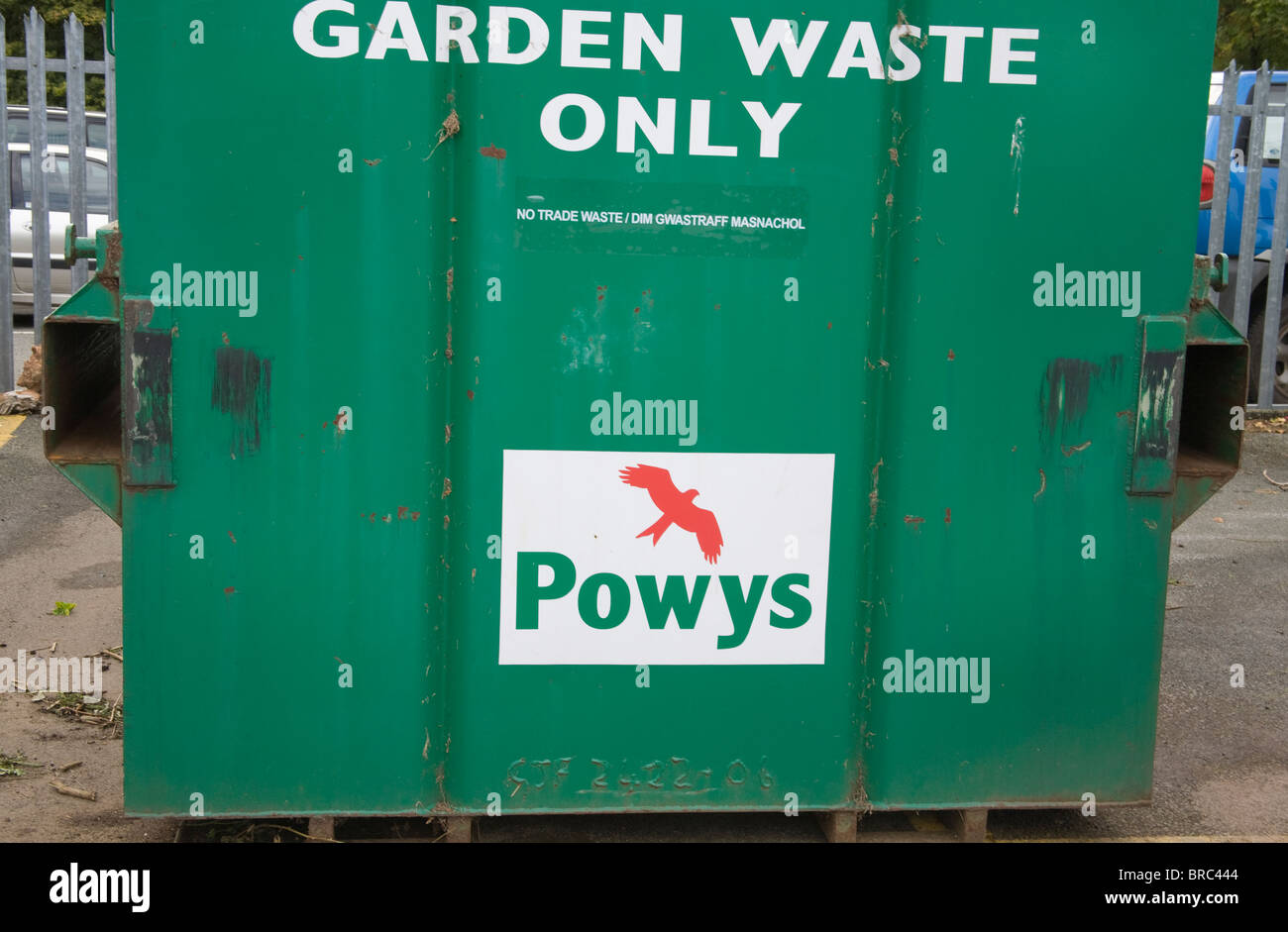 Powys Wales UK Container for recycling garden waste Stock Photo