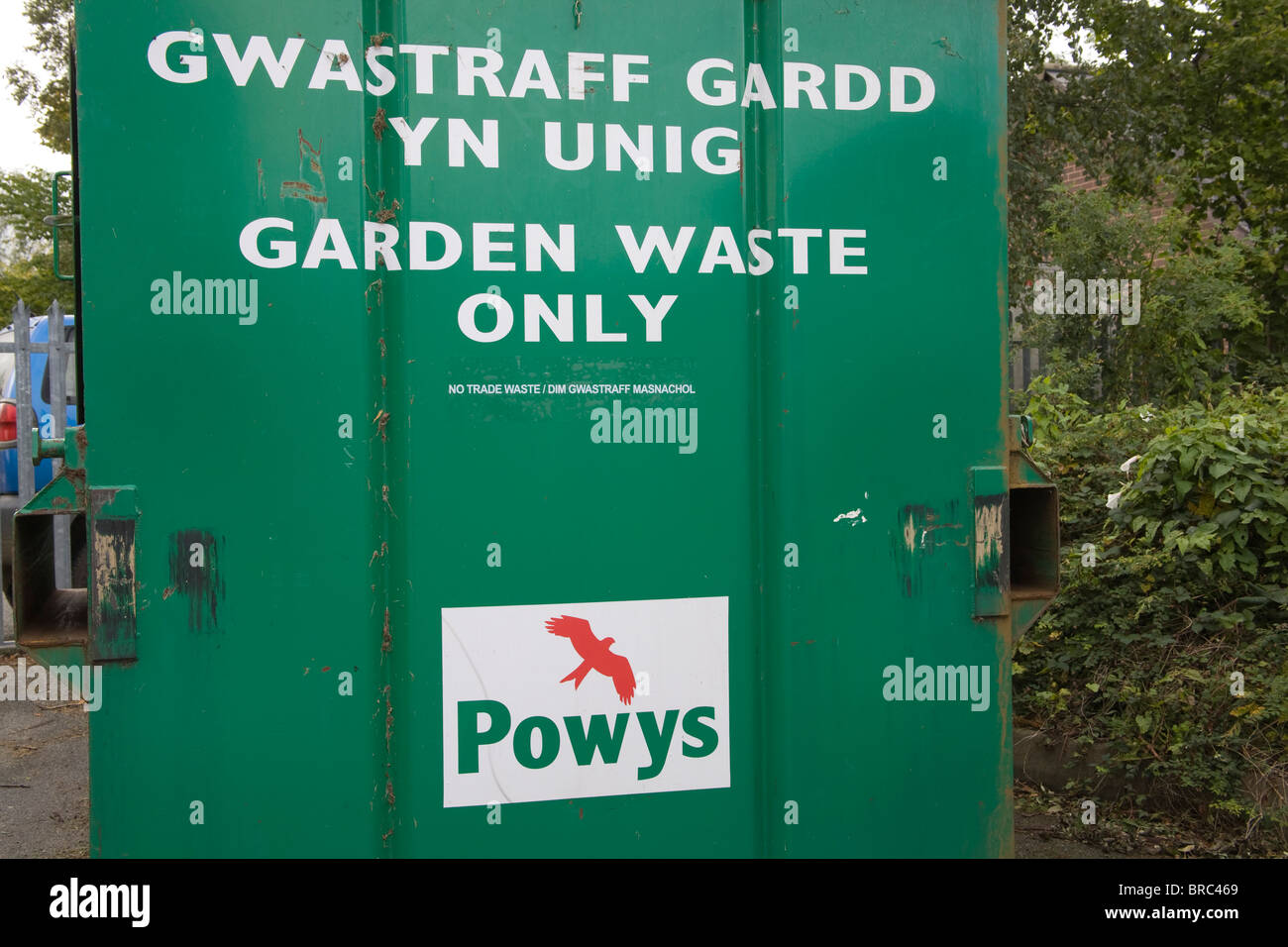 Powys Wales UK Container for recycling garden waste - Stock Image