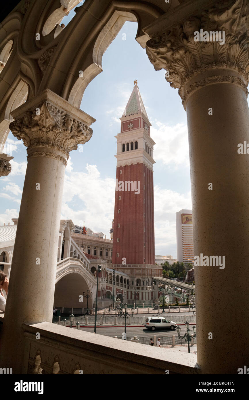 The Belltower or Campanile, the Venetian Hotel, the Strip, Las Vegas USA - Stock Image