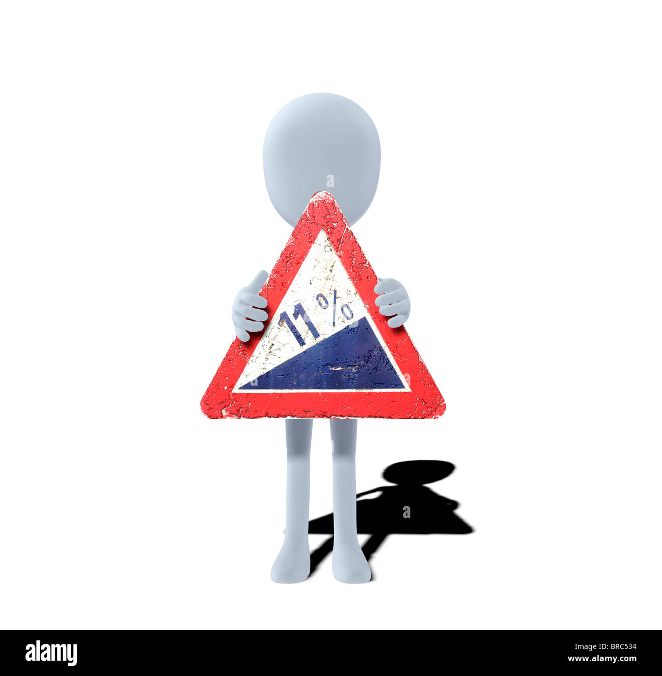 concept figure with warning sign steep hill upwards - Stock Image