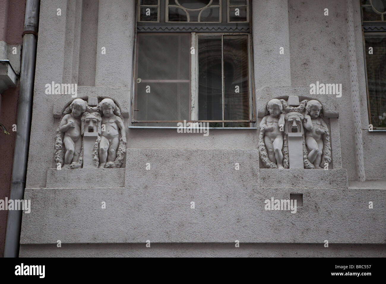 Cherubs architecture buildings Budapest Hungary - Stock Image