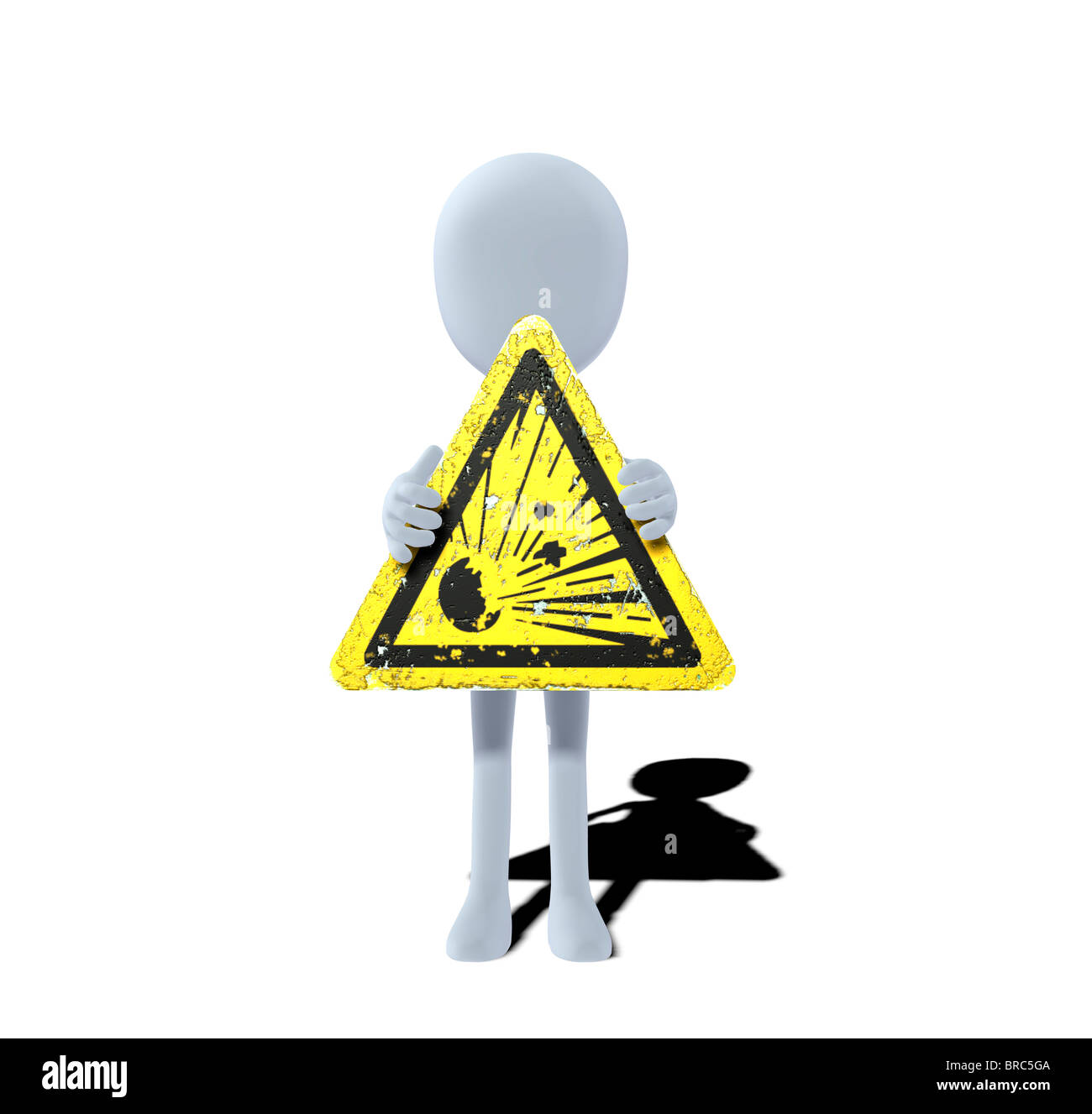 concept figure with warning sign explosive substances - Stock Image