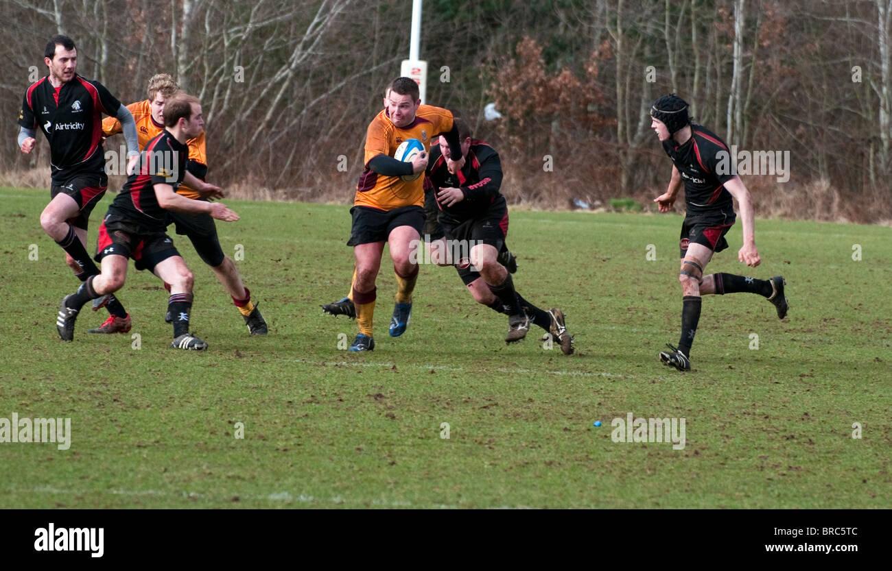 Rugby Union tackle, Dalziel Rugby Club, Motherwell, Lanarkshire, Scotland, UK, Western Europe. Stock Photo