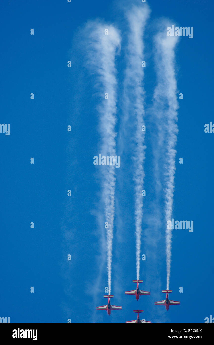 aerobatic propeller turboprop patrol jordan fast flight fly reckless madness - Stock Image