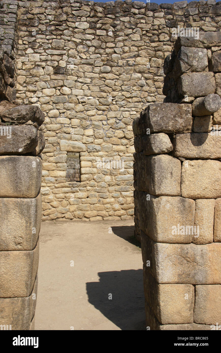 Trapezoidal window and door for earthquake protection, Inca ruins Machu Picchu, Peru, South America  - Stock Image
