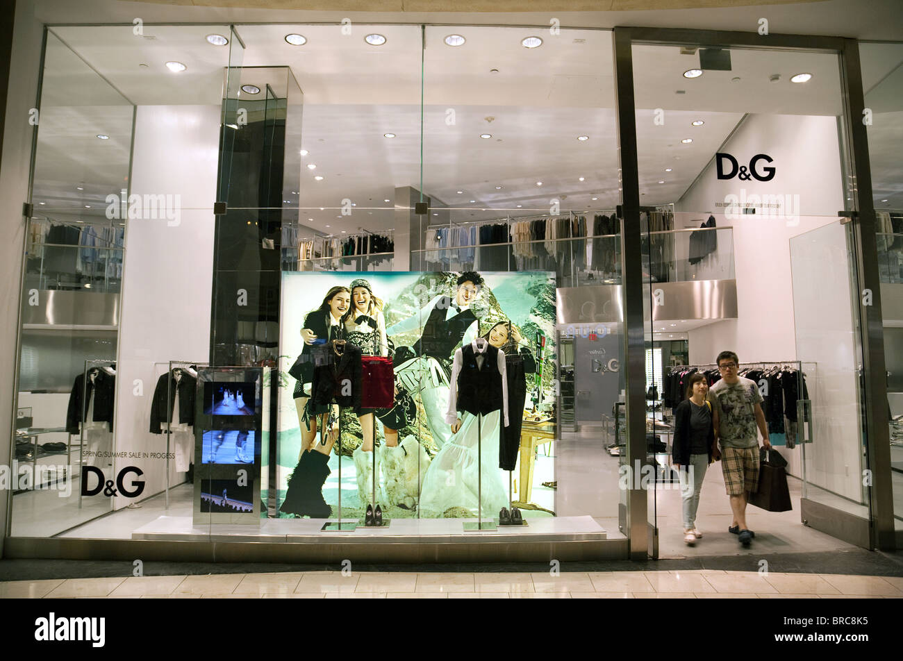 People shopping at the Dolce & Gabbana store, the Forum Shops, Caesars Palace Hotel, Las Vegas USA - Stock Image