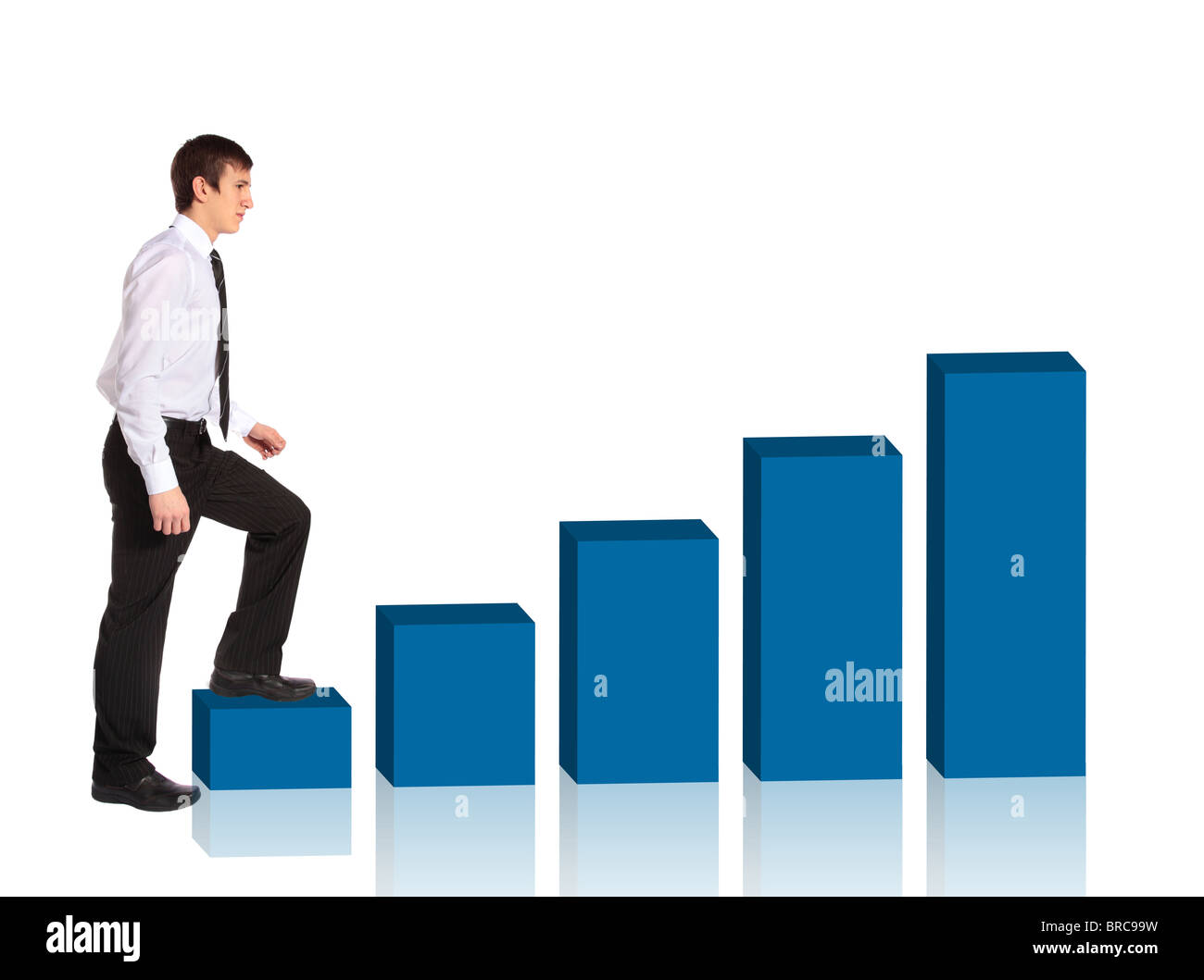 A young businessman walking up a bar diagram. All isolated on white background. - Stock Image