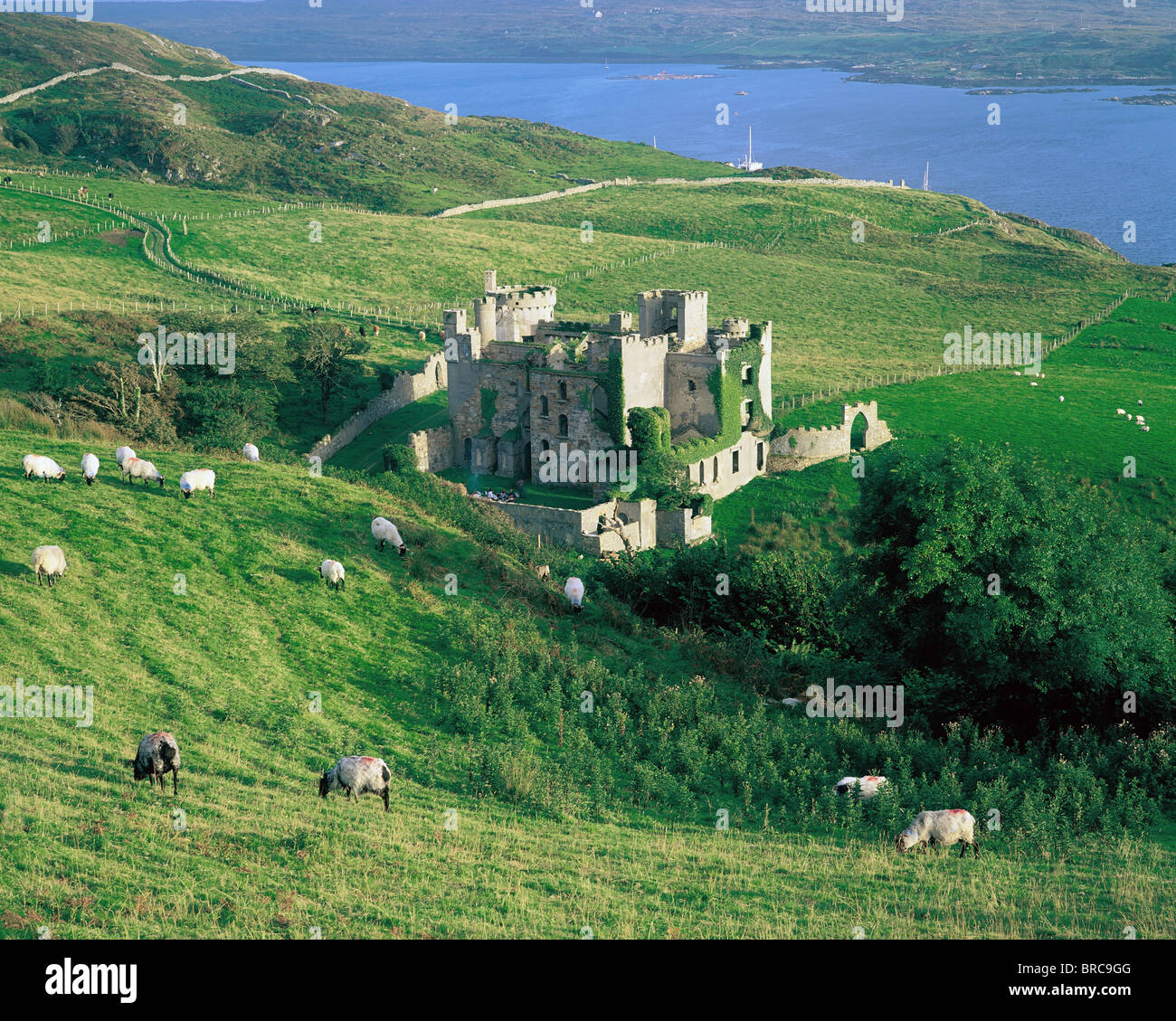 Clifden Castle, Co Galway, Ireland; 19Th Century Gothic Revival Style Castle - Stock Image
