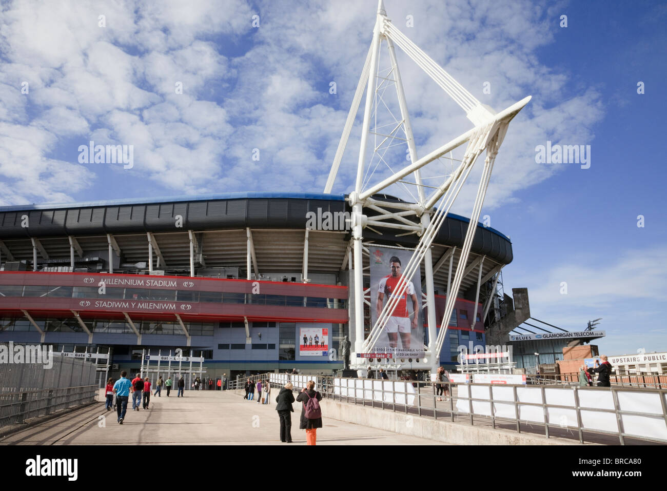 Front entrance to Principality Stadium Welsh national football and rugby venue. Cardiff (Caerdydd), Glamorgan, South - Stock Image