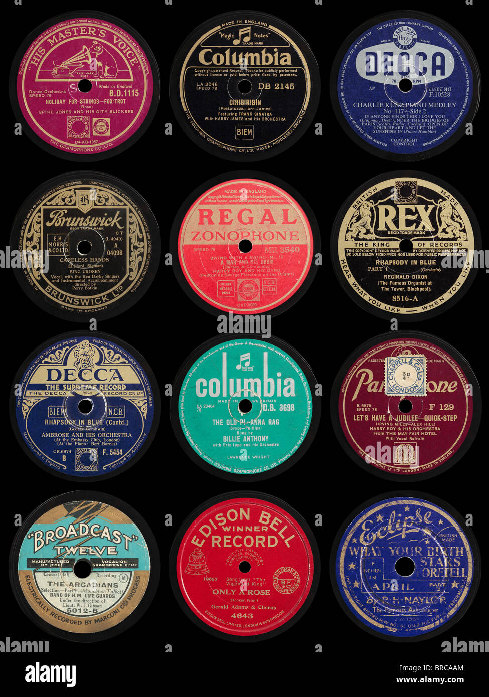 Old 78 rpm Gramophone Record Labels - Stock Image
