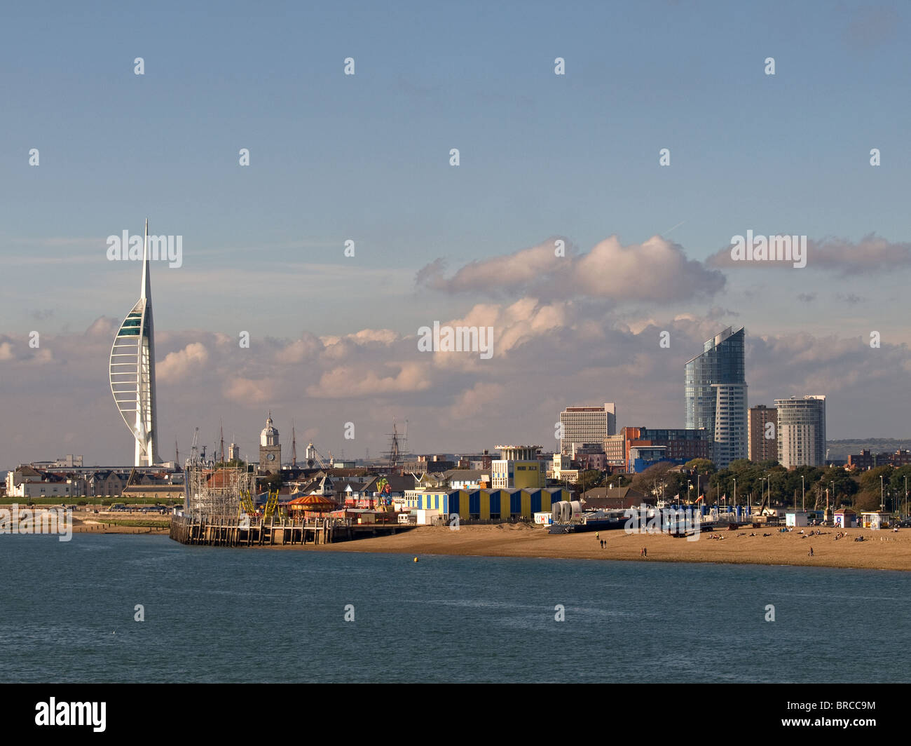 Southsea seafront Hampshire England UK looking toward Clarence Pier, Hovertravel Terminal and Spinnaker Tower of Stock Photo