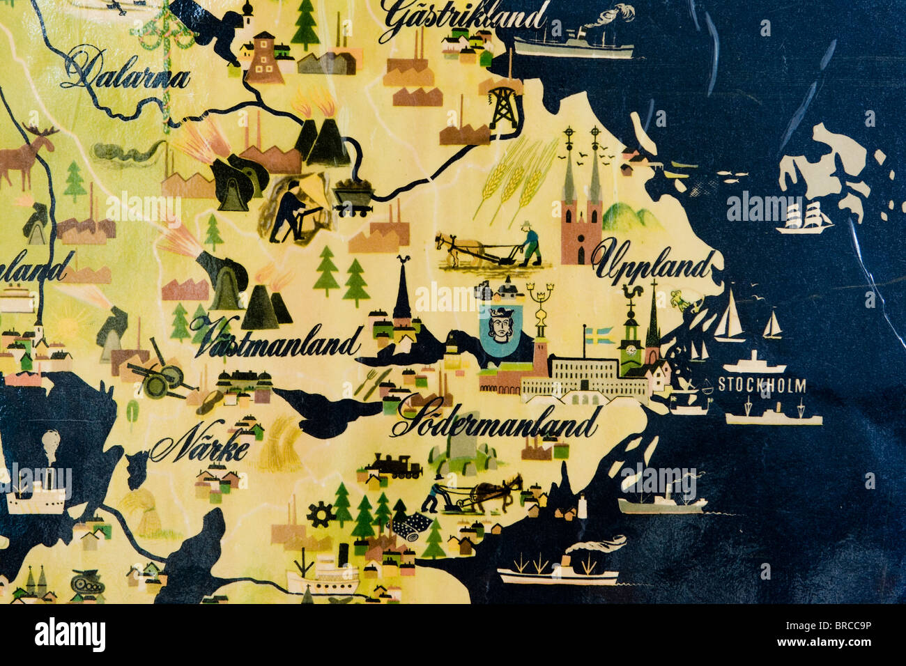 Old map of central Sweden - Stock Image