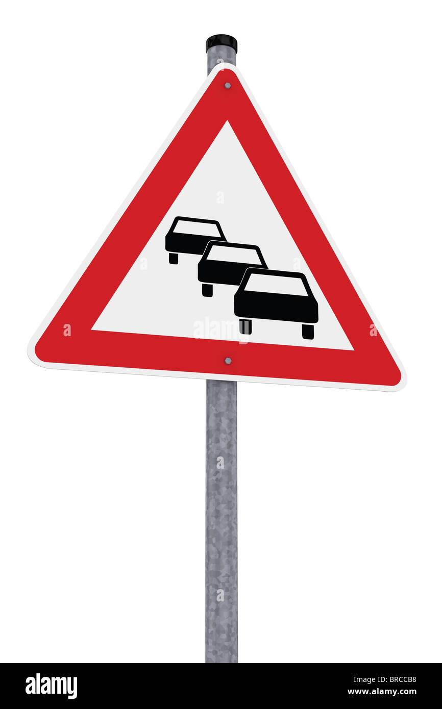 German traffic sign indicating traffic congestion - Stock Image